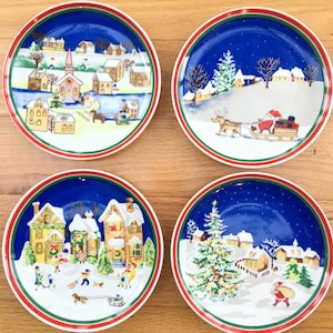 vintage christmas plates set of four vintage handpainted christmas plates decorative christmas plates vintage christmas decor