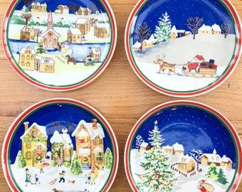 Vintage Christmas Plates Set of Four Vintage Handpainted Christmas Plates Decorative Christmas Plates & Furio Sponge Tree Christmas Tree Glass Plates Set of 13