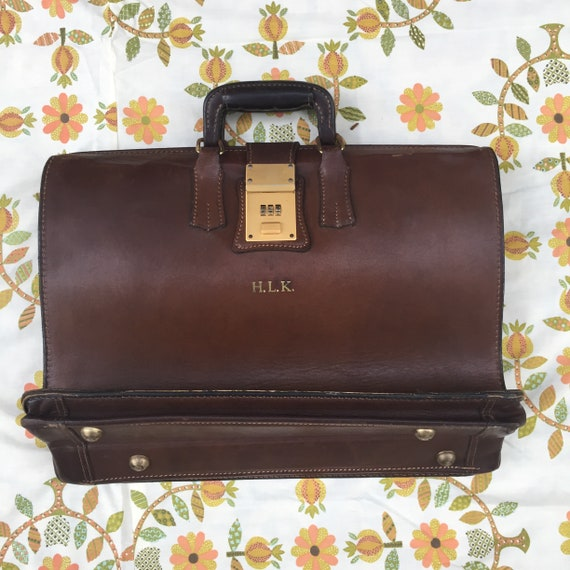 Vintage Leather Briefcase, 1950s Leather Briefcase