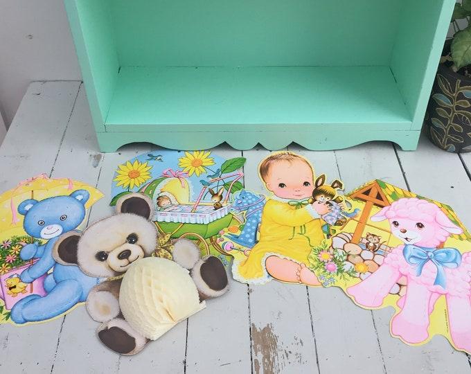 Vintage Die-Cut Baby Shower Decorations, Set of Five, Vintage Baby Shower Ephemera, Vintage Baby Shower Decorations, Paper Honeycomb Bear
