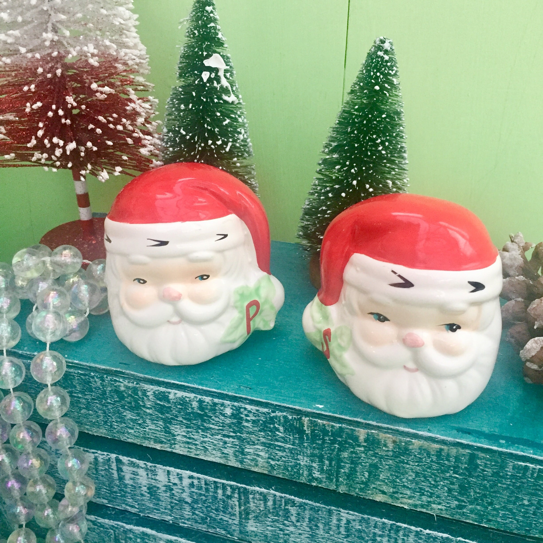 Vintage Santa Salt and Pepper Shakers, Vintage Christmas Salt and ...