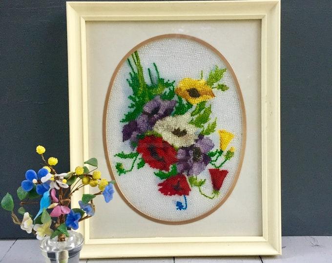 Vintage Floral Bead Art, Vintage Flower Bead Art, Vintage Floral Art, Vintage Original Artwork, Vintage Flower Bouquet Wall Decor