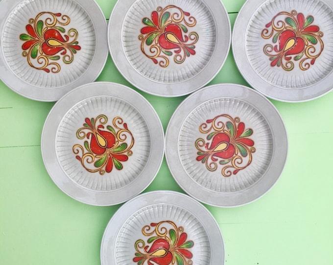 Vintage Winterling of Bavaria Small Plates, Set of Six, Marktleuthen Salad Plates, Retro Plates, Vintage Retro Kitchen, 1970s Kitchen