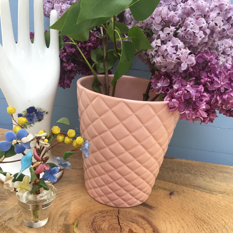 Vintage Pink Flower Pot Vintage Basketweave Flower Pot Vintage