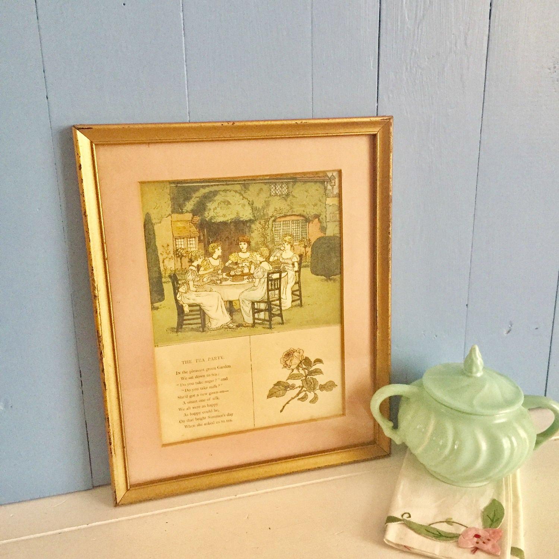 Vintage Tea Party Framed Photo, Vintage Ladies at Tea Matted Wall ...