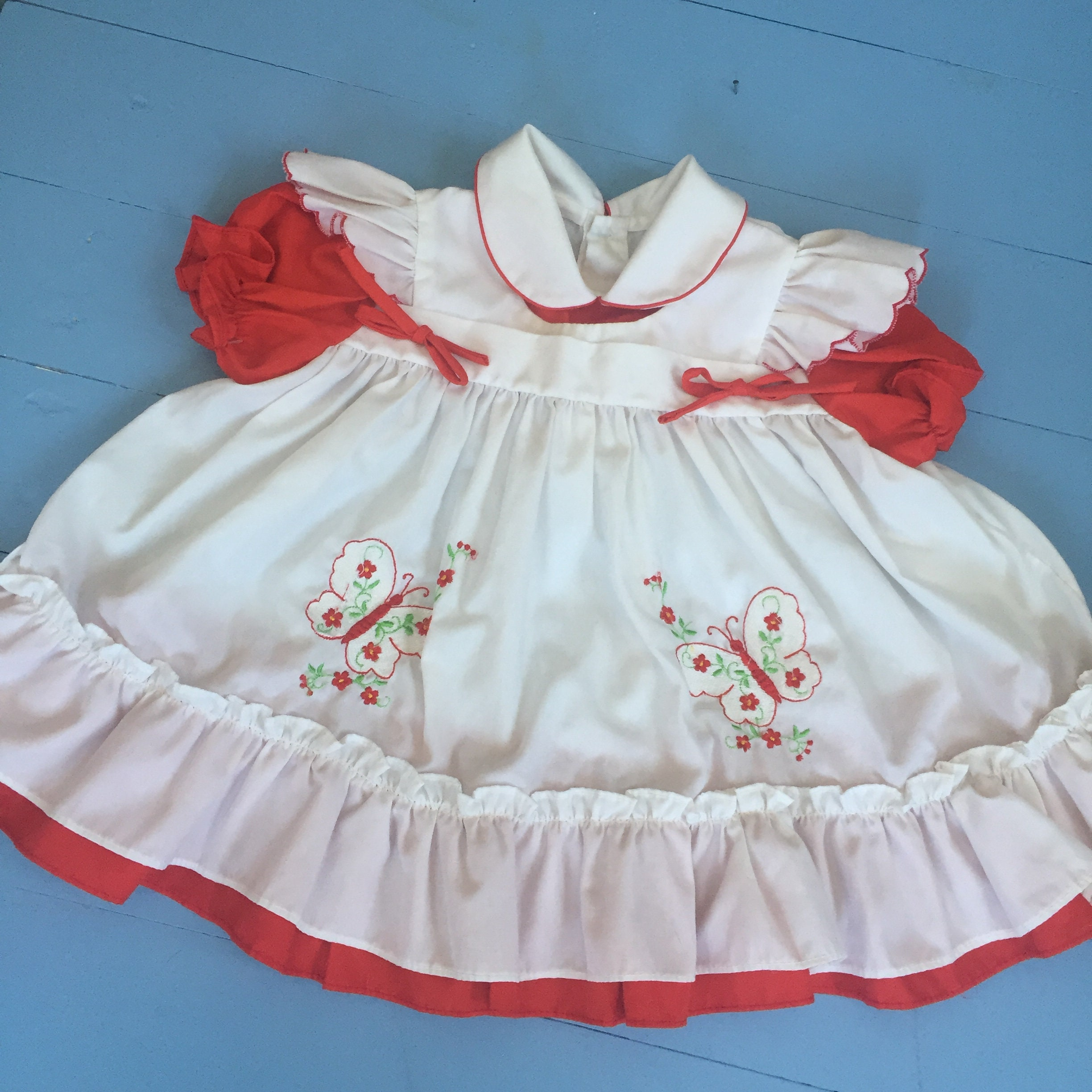0d35a1bd1d24 Vintage Red and White Baby Girl Dress