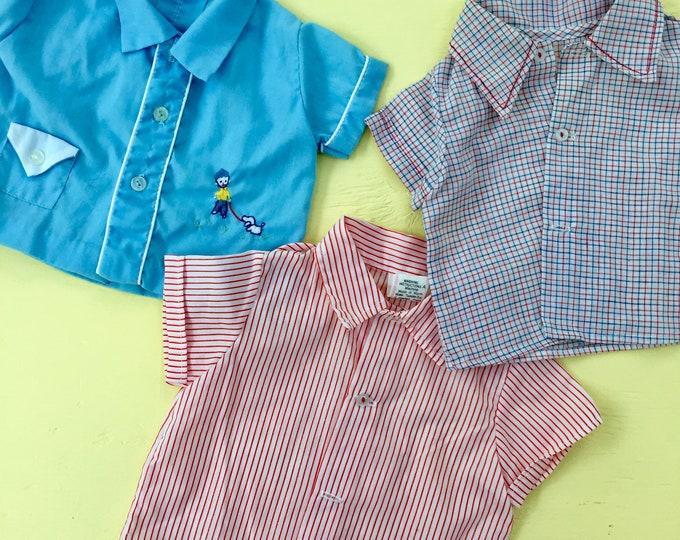 Vintage 1960s Baby Boy Oxford Shirts, Set of Three, 3-6 months, Vintage 1960s Baby Boy Shirts, Vintage Baby Boy Button-up Shirt