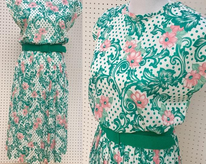Vintage 1980s Dress, Women's Size 8, Vintage Business Casual Dress, Vintage Belted Dress, Vintage Floral Dress, Retro Professional Dress
