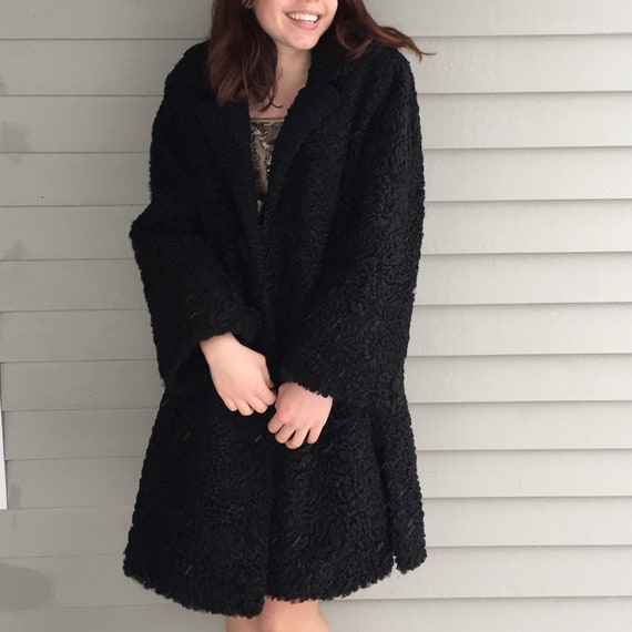 1920s Black Lambswool Dress Coat, Women's Size Me… - image 3