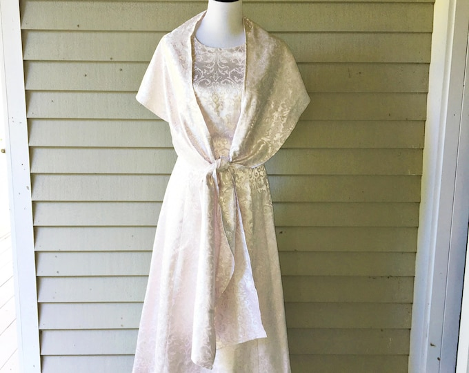 Vintage 1990s Pink and Silver Strapless Dress with Matching Shawl, Women's Size 7/8, Vintage Midi-Length Party Dress