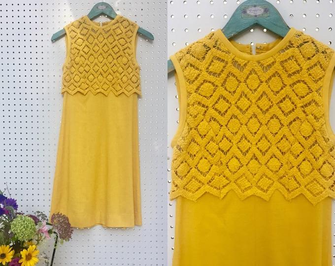 Vintage 1960's Sheath Dress, Women's Size XS, Vintage 1960s Yellow Dress, Vintage A-Line Summer Dress, 1960s Mod Dress