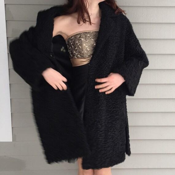 1920s Black Lambswool Dress Coat, Women's Size Me… - image 4