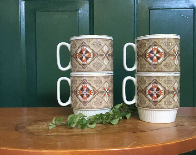 Vintage Mod Stacking Coffee Cups, Set of Four, Orange and Brown Coffee Cups, Boho Chic Coffee Mugs, Boho Chic Kitchen Decor