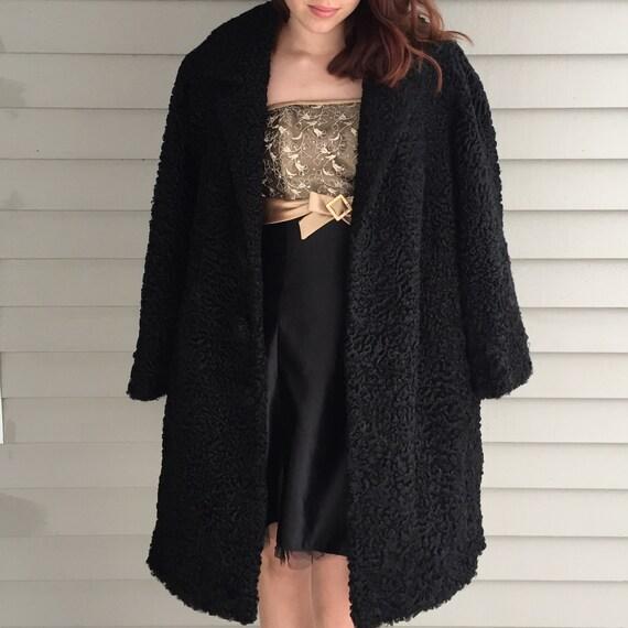 1920s Black Lambswool Dress Coat, Women's Size Me… - image 2