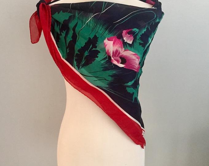 Vintage Jim Renoir Scarf, 1960s Scarf, Vintage Floral Scarf, Vintage Accessories, Vintage Fashion Scarf