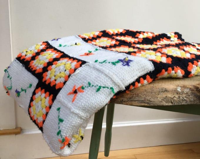 Vintage Afghan, Retro Afghan, Orange and Yellow Afghan, Vintage Floral Blanket, Retro Blanket, Vintage Blanket