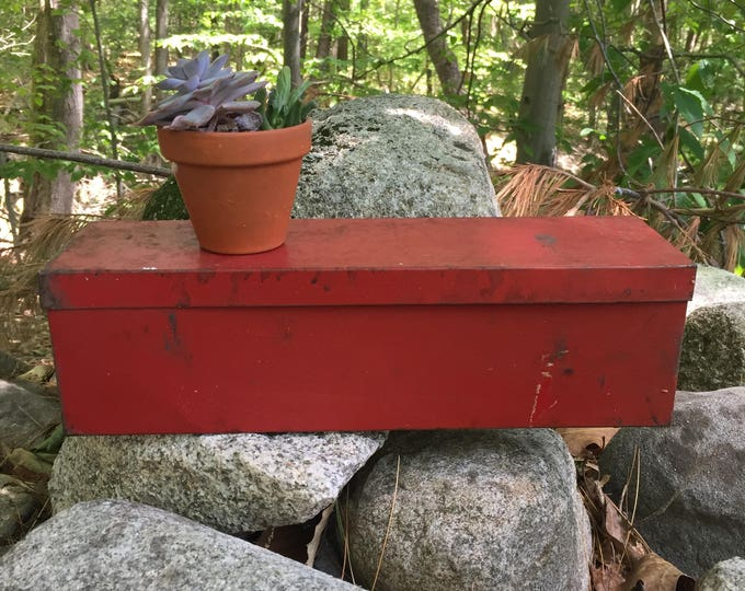 Vintage Red Metal Box, Industrial Box, Industrial Storage, Vintage Red Box