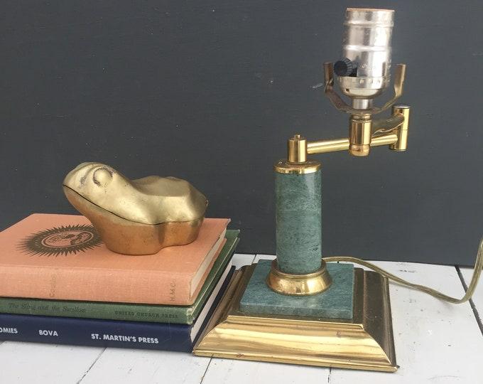 Vintage Green Marble Office Lamp, Vintage Marble Desk Lamp, Vintage Banker's Lamp, Vintage Brass and Marble Table Lamp