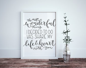 The Most Wonderful Thing I Decided to do Was Share My Life & Heart With You Calligraphy Print - Love Quote Print - Gift for Her - Life Print