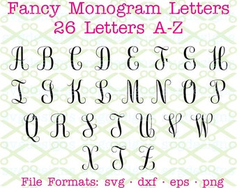FANCY MONOGRAM SVG Dxf Eps Png Fancy Monogram Letters Svg Cursive Script Cricut Silhouette Cut Files