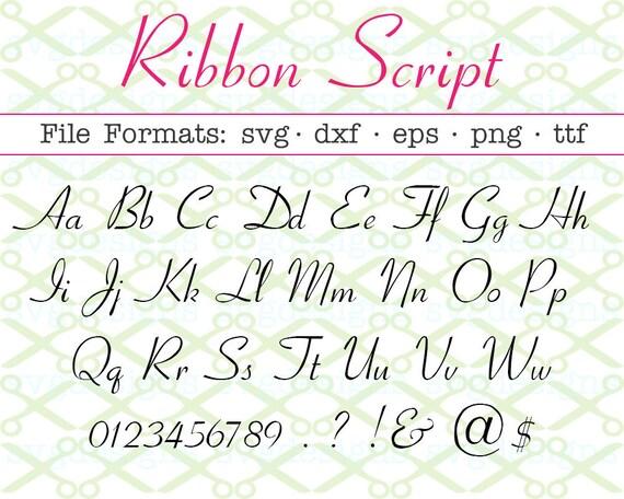 Ribbon Script Font Svg Dxf Eps Png Fancy Font Wedding Etsy