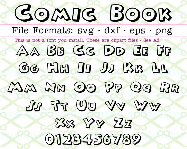 COMIC BOOK Monogram Svg Letters & Numbers, Svg Dxf Eps, Png, Cartoon  Letters Svg, ComicSVG, Outline Letters Svg Cricut Silhouette
