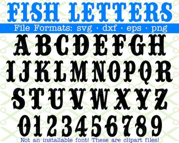 Fisch Monogramm Svg Buchstaben Zahlen Svg Dxf Eps Png Etsy