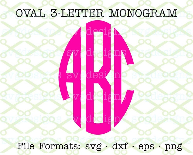 3 Letter Monogram Set, Oval Circle Monogram Svg, Dxf, Eps, Png
