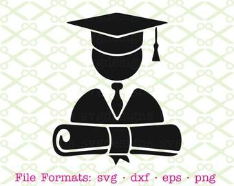 Graduation SVG, Dxf, Eps, Png. Digital Cut Files for Cricut, Silhouette; Graduate SVG, Graduation Cap & Gown, Graduation Icon, School Svg