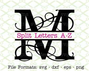 Flourish Split Letter Monogram SVG, Dxf, Eps, Png; Split Letter Monogram Svg,  Split Letter Monogram for Cricut & Silhouette, Svg Cut FIles