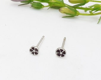 Tiny silver flower stud earring, recycled silver