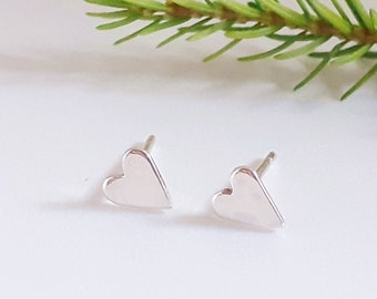Tiny sterling silver heart studs, tiny earrings, handcut, UK