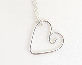 Dainty silver heart pendant necklace, spiral, girl, sterling silver, hand-shaped