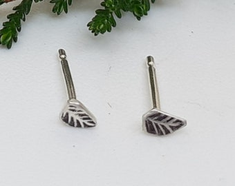 Tiny silver leaf earring, studs, recycled silver
