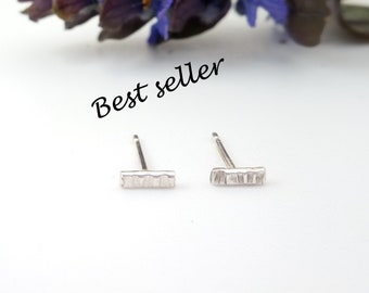 Tiny 'Silverwood' textured bar earrings, unique pattern, sterling silver