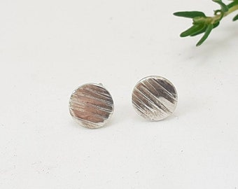 Tiny round sterling silver earrings, textured studs