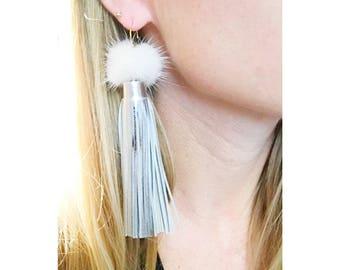 Mink + Leather Tassel Earrings