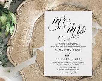 Mr. and Mrs. Wedding Invitation Set | Wedding Invitation Template | Calligraphy Wedding Invite | Editable Template | Instant Download MAM200