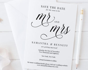 Save the Date Printable, Save the Date Template, Rustic Save the Date Wedding Printable, Mr and Mrs Calligraphy Wedding Printable, MAM200_06