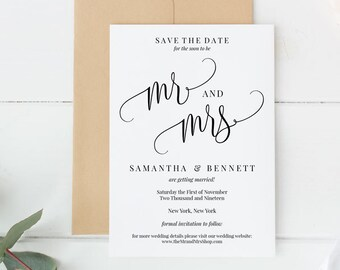 Editable Save the Date Template, Printable Wedding PDF, Invitation, Card, Calligraphy, Minimal, Simple, Instant Download, MAM210_08