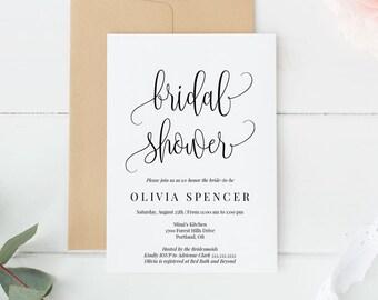 Editable Bridal Shower Invitation Instant Download PDF Template, Calligraphy, Minimal, Bride, Wedding Shower, Shower Invite, MAM210_01