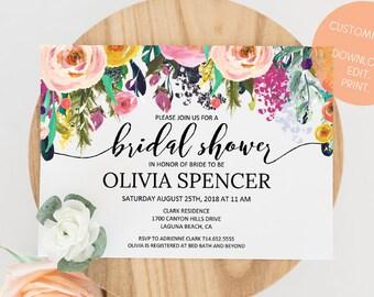 Editable Bridal Shower Invitation | Customized Bridal Shower Invite | Instant Download Watercolor Floral Bridal Shower Invitation