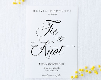 Tie the Knot Save the Date Card Template, DIY Editable Wedding Invitation Printable, Instant Download Calligraphy Announcement PDF MAM200_19