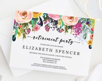 Editable Floral Retirement Party Invitation Template Printable, DIY Instant Digital Download Invite, PDF, MAM106_36