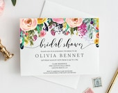 Watercolor Floral Bridal Shower Invitation DIY Template, Instant Download PDF, Bachelorette Party , Printable Flower Invite, MAM106_20
