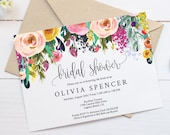 Editable Watercolor Floral Bridal Shower Invitation Template Printable, DIY Instant Digital Download Invite, Flower Bride, PDF, MAM106_30