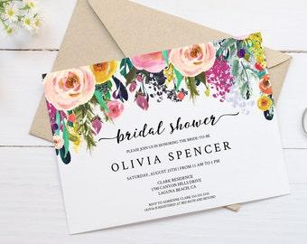 Editable Floral Bridal Shower Invitation Instant Download PDF Template, Watercolor Flower Bridal Invite, PDF Editable DIY, MAM106_22