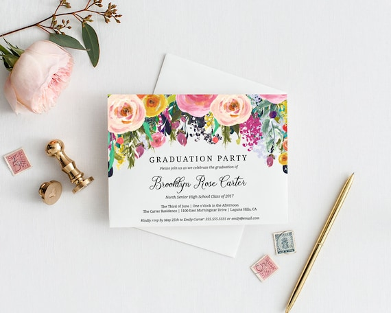 Floral Graduation Party Invitation Template Editable Instant Etsy