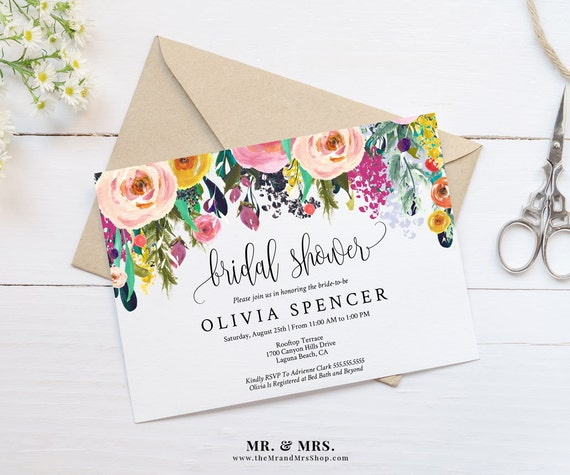 Editable Watercolor Floral Bridal Shower Invitation Template Etsy