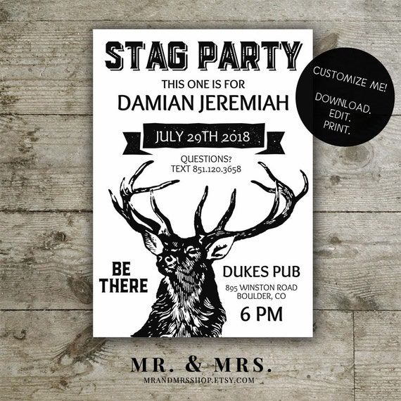 Editable Stag Party Invitation | DIY Instant Download Printable Stag Party Invite | Instant Download PDF File